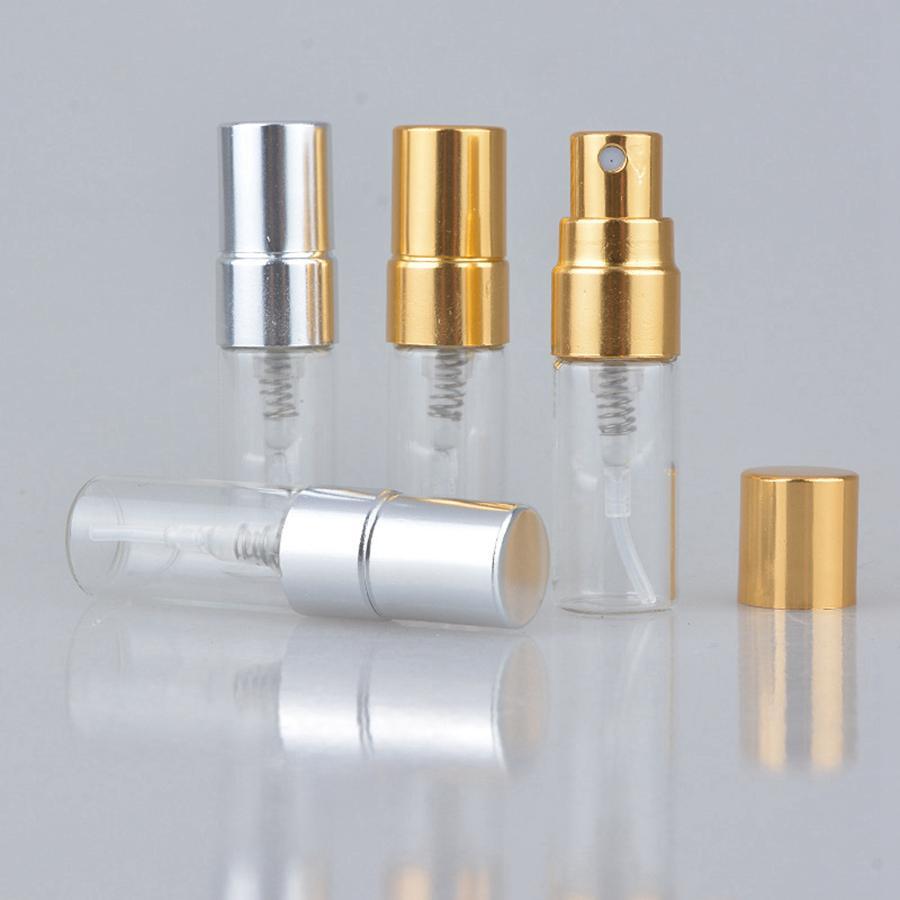 Botella de perfume de vidrio recargable de 3ml de viaje con rociador UV Pump Cosmetic Atomizand Atomizand Silver Black Gold Cap Mar Mar Envío RRE3115