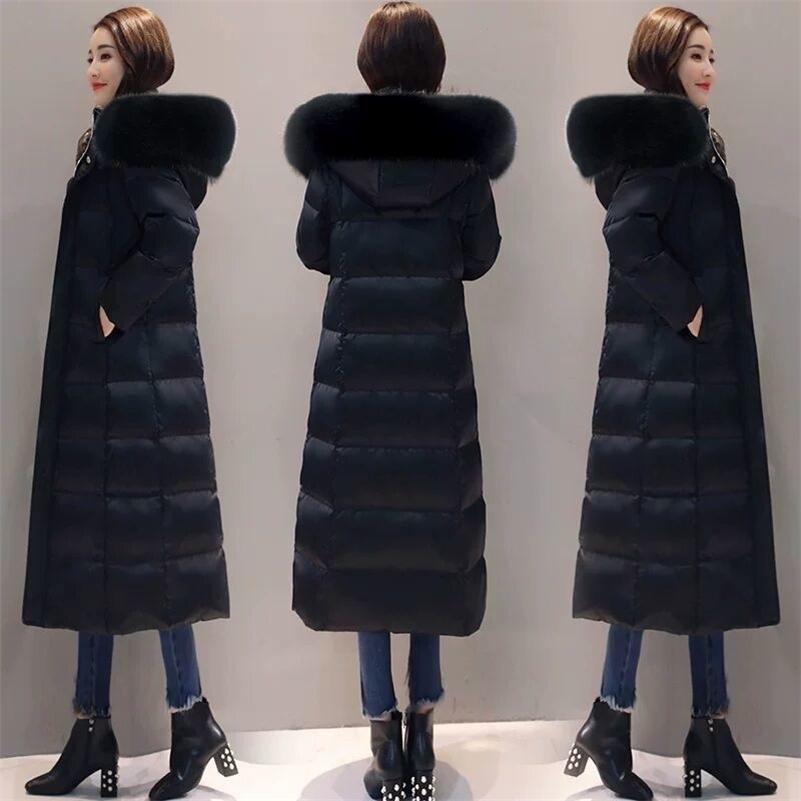 women winter bubble coats down long padded clothes solid color black jacket puffer warm thick winter parkas 201211