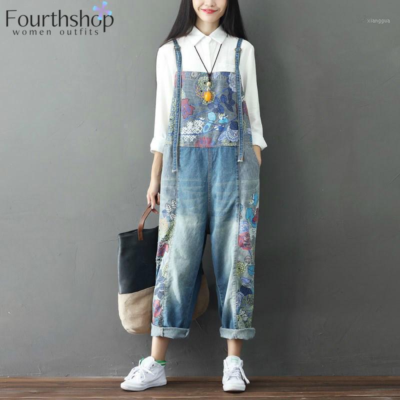Негабаритные джинсы Jumsuits Floral Print Мода Джинсовые комбинезоны Женщины Rompers Свободные хип-хоп Нагрудник Подвеска Брюки 2020 Streetwear1