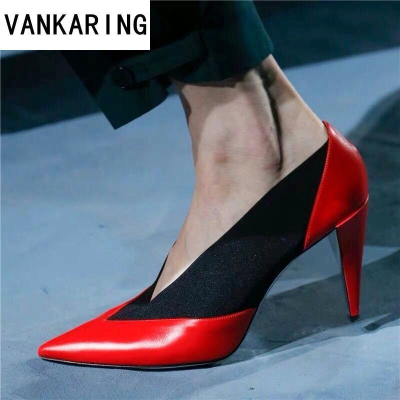 Marke Frauen Pumps Mode Zauber Farbe High Heels Einzelne Schuhe Weibliche Frühling Sommer Echtes Leder Hochzeit Schuhe Frau