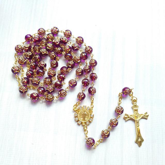 Altın Çapraz Akrilik Gül Kadın Tespih Kolye Düğün Dini Takı Hediyeler Birçok Renkler