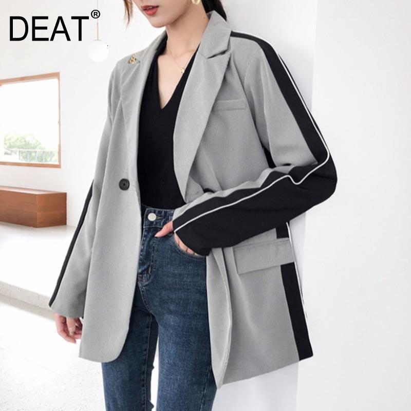 Deat 2020 Neue Herbst und Summa Mode-Umschlagskragen Full-Ärmeln Doppelknöpfe Grau Kontrastfarben Blazer WJ32802xl1