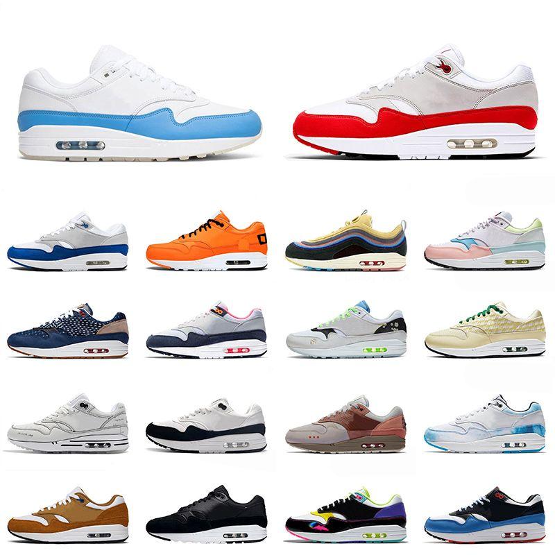 nike air max airmax 1 Novo Max 1 Esporte Correndo Sapatos Mens Mulheres Venda Quente Universidade Azul OG Anniversary AirAirmax Criado Elefante Sneakers Trainers 36-45