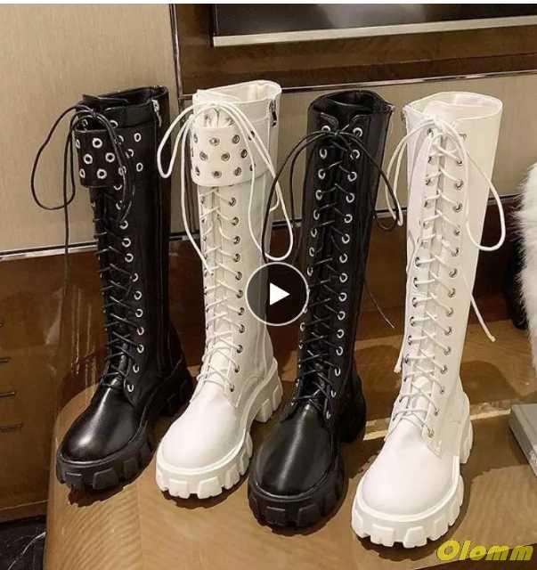 Leather Motorcycle Boots Punk Boots Shoes Boot Knee-high Cross-tied Winter Women Botas Mujer Round Toe