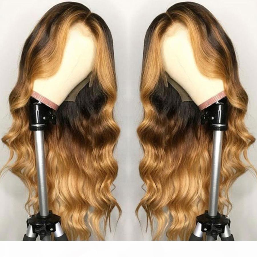 Resaltar Rubia Ombre Suelta Body Wave Encaje Frente Pelucas para el cabello humano para mujeres negras Remy Brasil Peluca de la base de seda preescalada