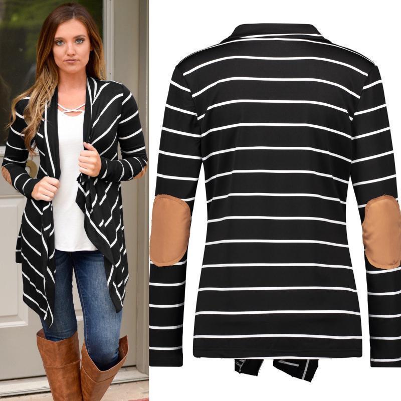 Дизайнерские покрыты Contrast Color Pochdrom Carsel шеи пальто вскользь с длинным рукавом кардиган Донна Пальто мода нерегулярные женщины