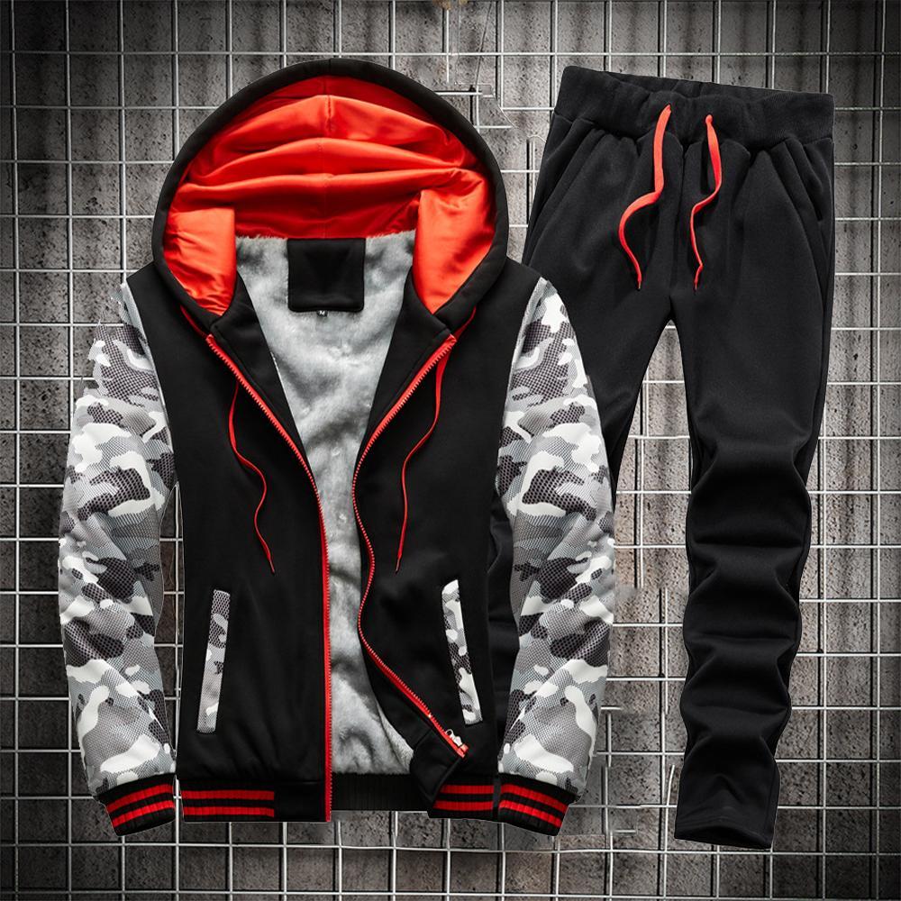 Vêtements d'hiver 2 pcs Sweats à Sweats à capuchon et pantalon homme Pantalon de salle de sport à la peau chaude Vêtements de jogging