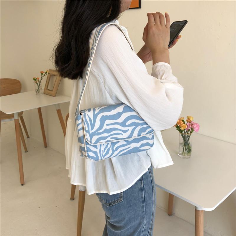 HBPVintage Design Women Canvas Baguette Handbags Blue Zebra Pattern Ladies Shoulder Bags Fashion Female Small Tote Clutch Purse Q0112