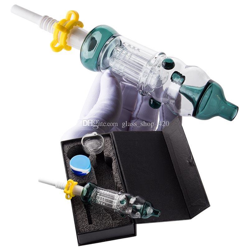Glass_shop_420 CSYC DABPIPES666 NC021 Мини нефтяной выгрешкой стеклянный стеклянный DAB соломенные водяные бонги ручные трубы с керамической пулей кварцевый гвоздь с черным