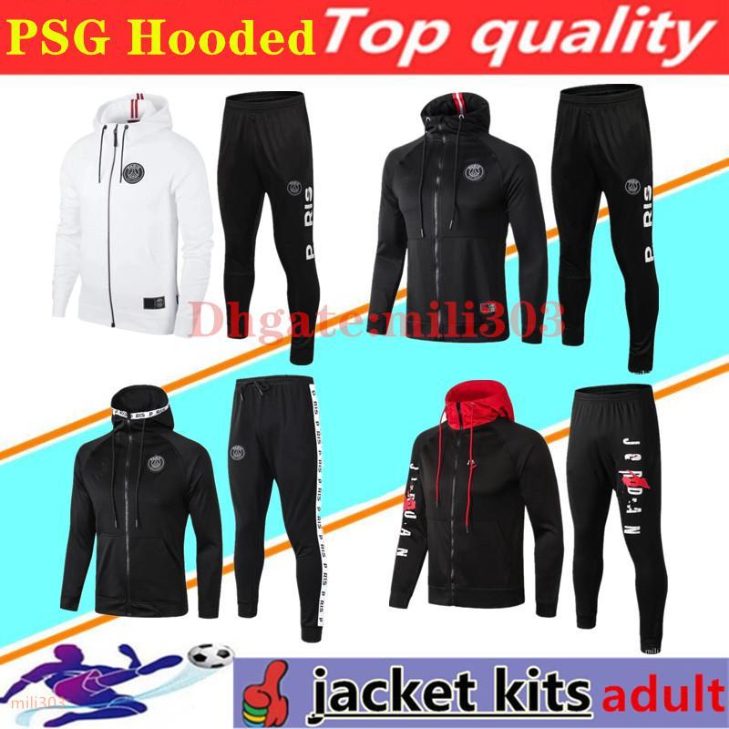 2020 2021 Paris hoodie soccer jacket Survetement 18-19-20-21 Paris chandal futbol training suit MBAPPE football hooded jackets tracksuit