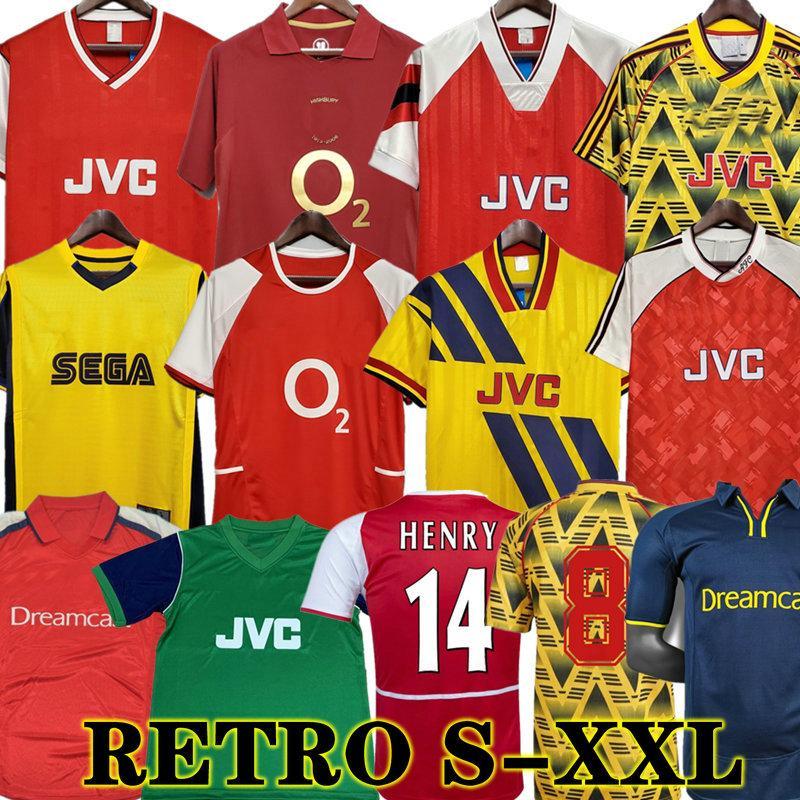 Highbury Arsenal Home Football Hemd Jersey Soccer Pires Henry Reyes 02 03 Retro Jersey 05 06 98 99 Bergkamp 94 95 Adams Persie 96 97 Galla 86 87 89
