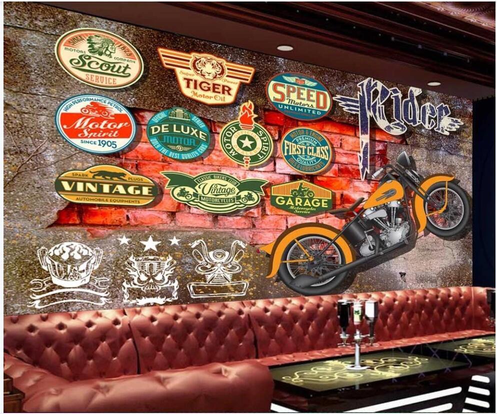 Papel tapiz 3D Photo Photo Mural en la pared Trendy Retro Motorcycle Licenciadas Decoración para el hogar Fondo de pantalla de Murales de pared 3D en la sala de estar