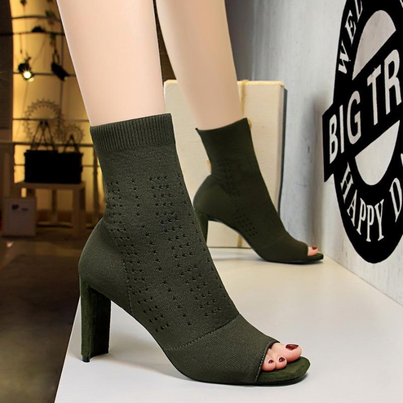 Novo Outono Moda Simples Sapatos Mulher Sexy Peixe Cabeça Hollow Wool Botinhas Grosso Saltos Peep Toe Gladiator Boots Botas Mujer