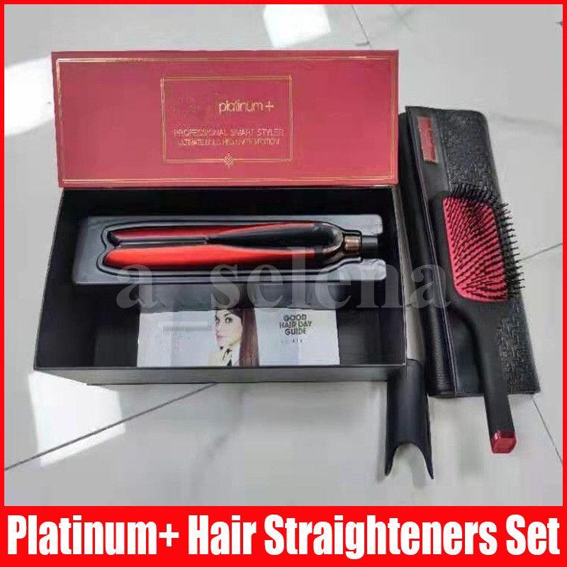 Platinum + alisadores de cabelo pincel sets profissional estilista plana alisador hairs estilo ferramenta vermelho com caixa