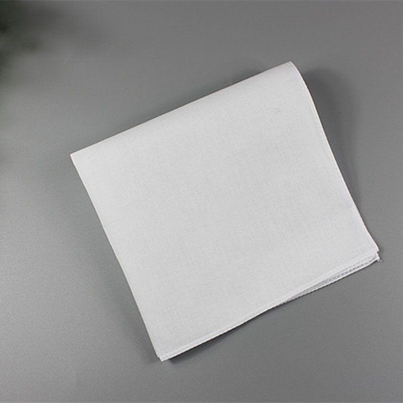 Pure Carré HankerCiefs Hommes Coton Mouchoirs Poche 100% HWC3932 28cm * 28cm White White Wedding Wedding Draw Impression Femmes Hankies Tfnwd