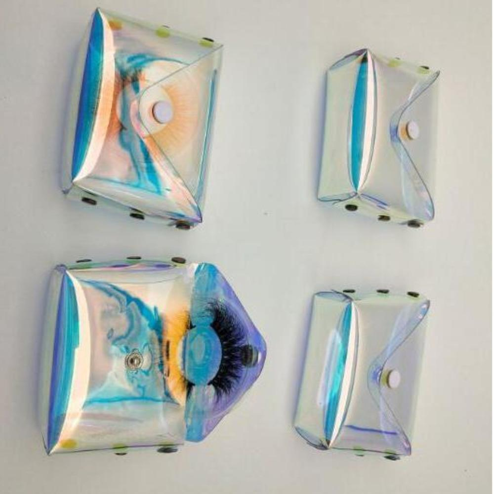 3D Eyelashes Packing Boxes Laser Lash Bag Lashes Package Storage Cases Makeup Cosmetic Case Mink Transparent Eyelash Bag