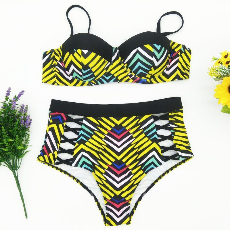 Talla grande Bikini Traje de baño de la playa de Bikini 2019 Nueva correa de hombro ajustable sexy Atrás Corbata Sexy traje de baño Dos piezas Set Easter1y