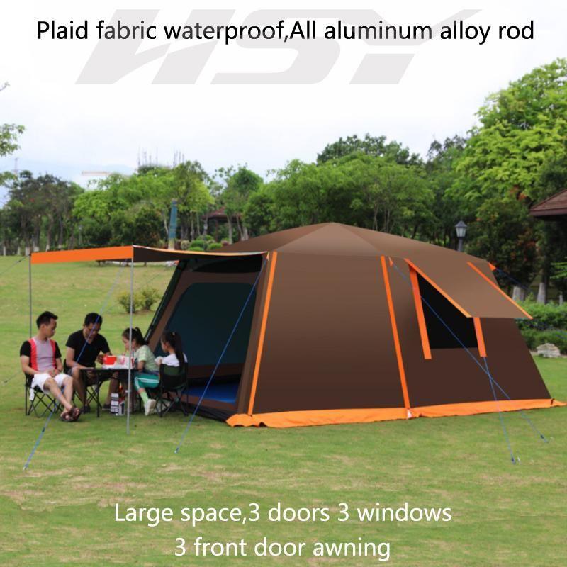 Outdoor 8-10 Person Beach Beach Camping Tenda automatica Anti / Proof / Rain UV / Piove / Impermeabile 2 camere 1 Sala Famiglia Impermeabile Tenda in L Formato