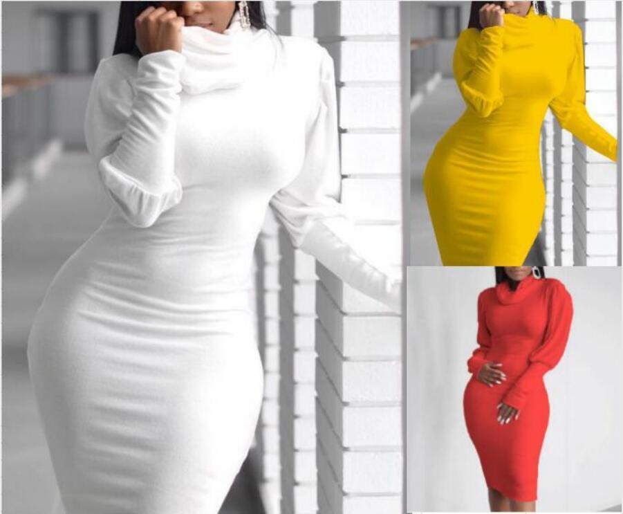 3Colour S-4XL 섹시한 여성 캐주얼 Bodycon 미디 드레스 긴 소매 붕대 Clubwear 슬림 스커트 43630630742485