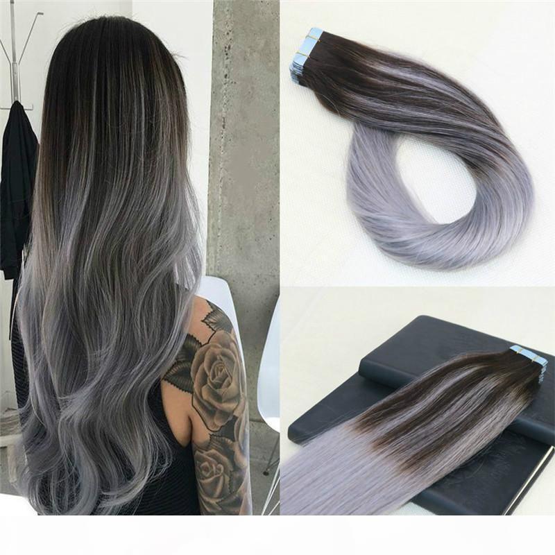 100% fita não processada em extensões de cabelo humano Omber sliver cinza fita de trama de pele em extensões de cabelo 8a pontas grossas Balayage tape ins