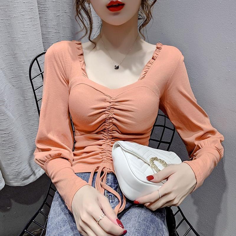 Camicetta Donne con coulisse manica lunga camicie da 2020 Abbigliamento da donna Abbigliamento Slim fit Top Blusas Ropa de Mujer