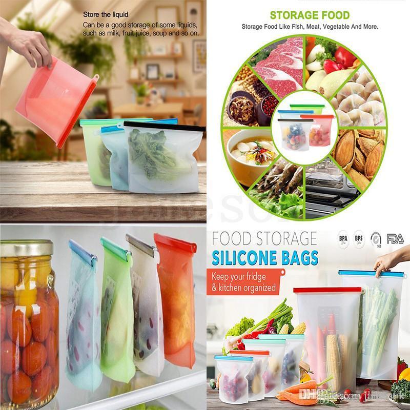 Küchenlagerorganisation, wiederverwendbare Lebensmittelbehälter, Silikonfutter Aufbewahrungstaschen für Lebensmittel Gemüse Fleisch DA189