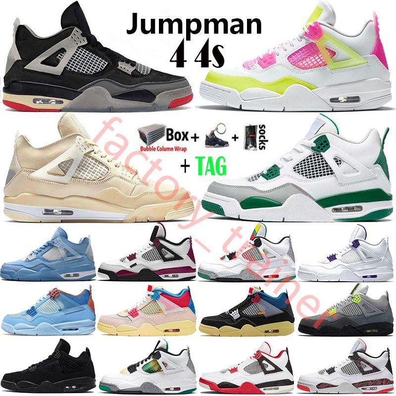 2021 Top Cream White x Sail Bred Union Jumpman 4 4s Mens Basketball Shoes Neon Black Cat Cool Gray Metallic Purple Running Shoes 스니커즈