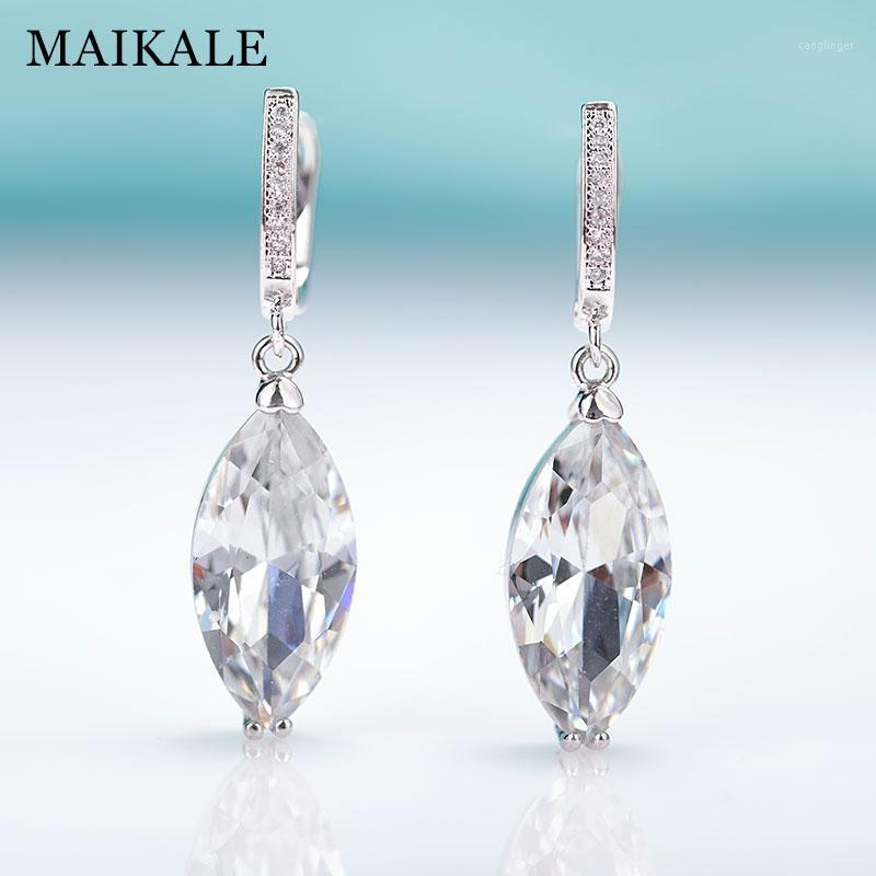 Maikale Neue Mode Augen Form Einfache Zirkonia Tropfen Ohrringe für Frauen Rose Gold Fine Schmuck Schwarz Baumeln Ohrringe Geschenk1
