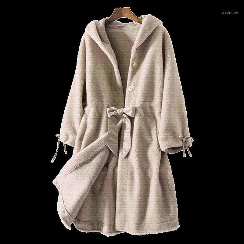 100% Wool Jacket Real Fur Coat Sheep Shearling Fur Winter Coat Women Clothes 2019 Korean Female Elegant Hooded Jacket ZT6761