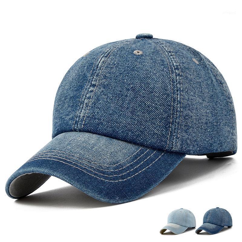 Унисекс сплошная джинсовая бейсбольная крышка пустой промытый джинсовая шляпа Casquette Регулируемые шляпы шляпы Snapback для мужчин и женщин1