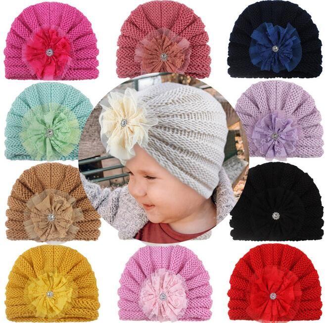 2021 Baby Turban Knitting Hats for Girls Rhinestone Hats Kids Elastic Baby Turban Warm Winter Soft Headwrap Newborn Headband Beanie Cap