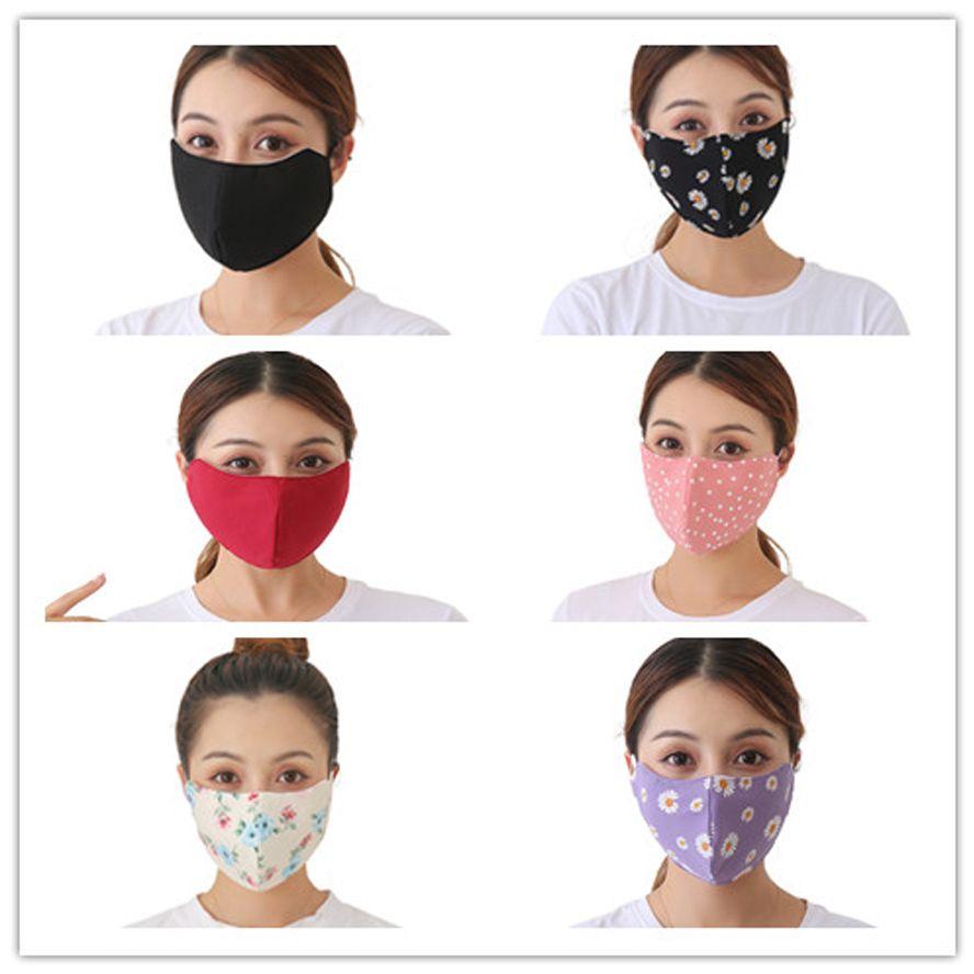 Mascarilla de cara con máscaras de algodón de la impresión de la cara con máscaras de la cara de la manera de la manera de adulto a prueba de polvo de invierno a prueba de polvo a prueba de polvo caliente calientes máscaras tridimensionales en stock