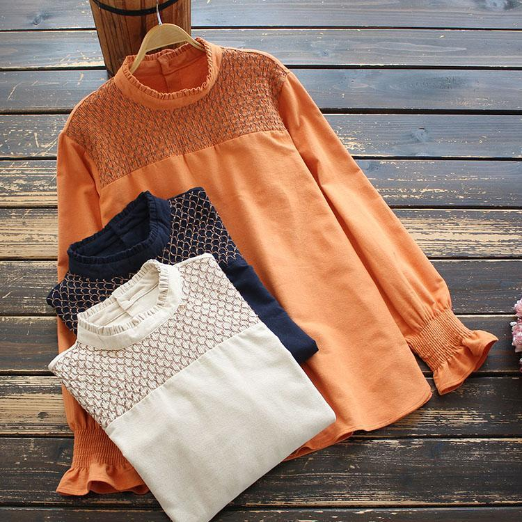 Blusas de las mujeres camisas Ropa de primavera Soporte Cuello Camisa de manga larga Casual