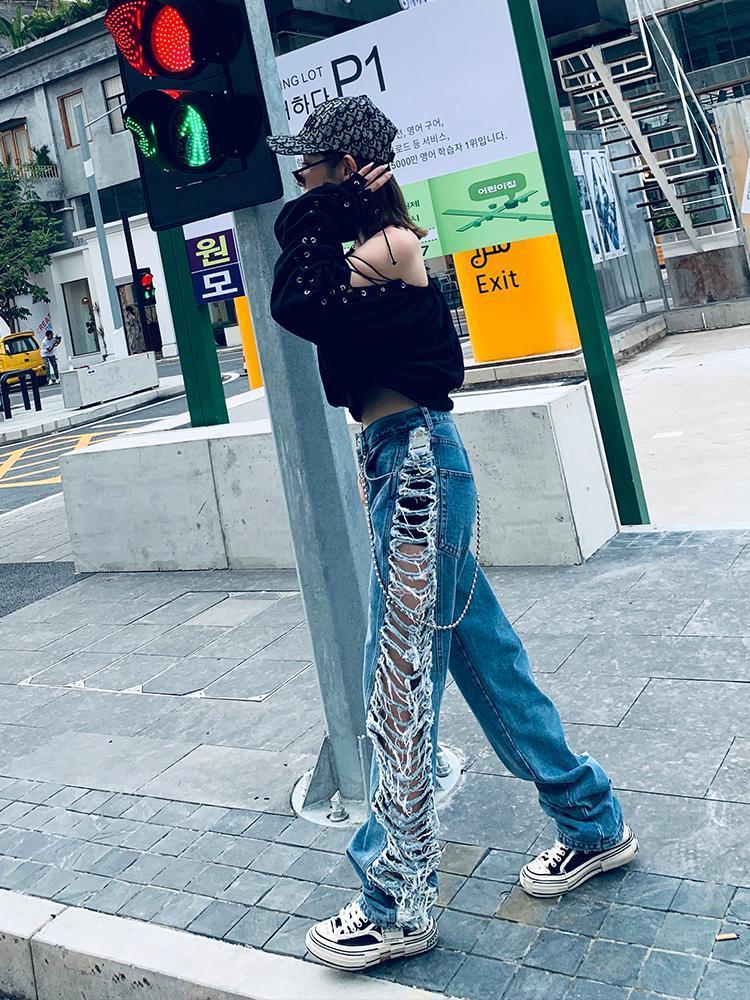 2021 Primavera Nuovo Lato Strappato Jeans Donne Allentati Pantaloni Casual All-Match Pantaloni dritti Pantaloni per personalità Pantaloni di moda