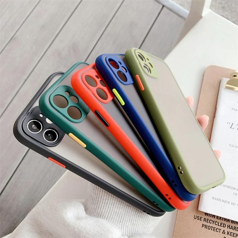 Caixa de telefone protetora de lente de câmera para iPhone 12 11 xr xs max 7 8 mais 6 6s luxo contraste cor quadro matte dura tpu + pc protetora