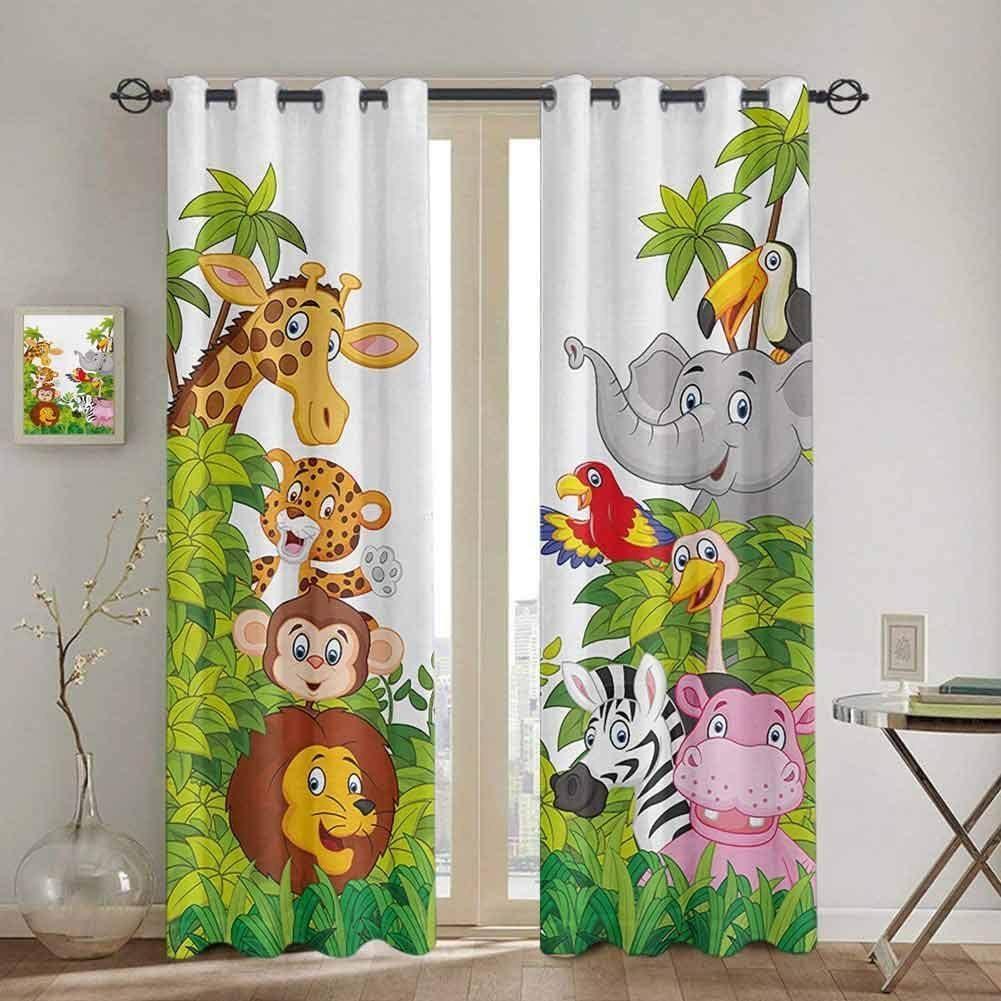 Chambre Cuisine Rideau Cartoon Zoo Animaux Collection Jungle Enfant Fenêtre Rideaux Rideaux pour salon Articles décoratifs LJ201224