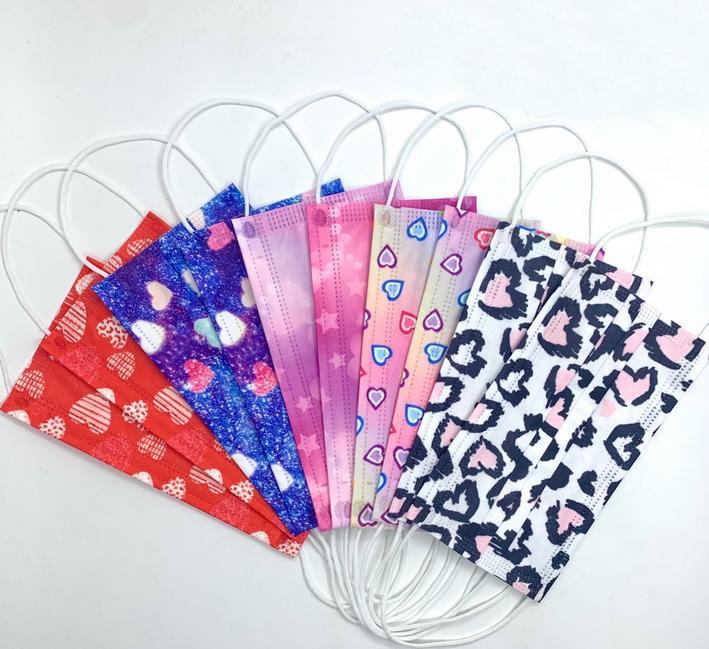 NUEVO 3 Capa 95% Eficiencia de filtración Multicolor Historieta Rainbow Hearts Mascarilla Disponible Prevención Prevención Prevención Face Mask Mascar