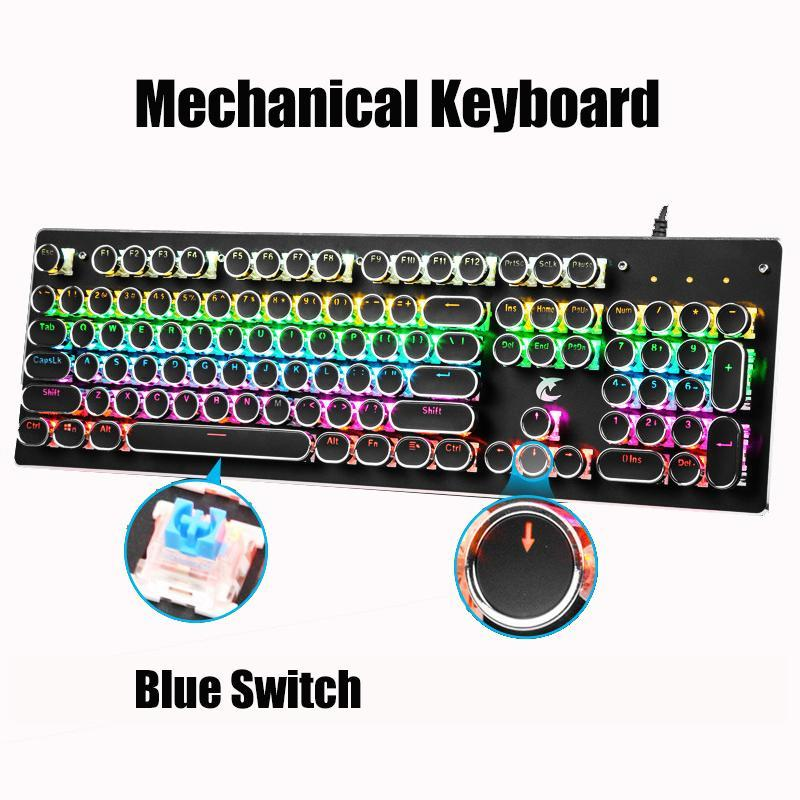 Mechanical Keyboards 104 Keycaps USB Wired Gaming Keyboard RGB LED Backlit Keyboard for PC Laptop Tablet teclado mecanico