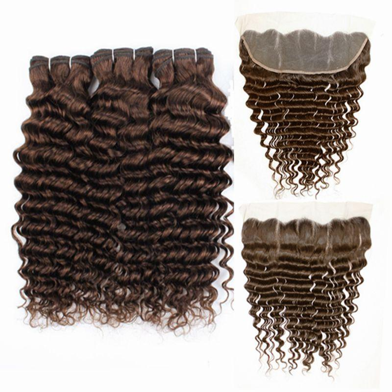 موجة عميقة # 4 متوسطة البني ريمي الشعر البشري نسج حزم مع الدانتيل أمامي إغلاق 13x4