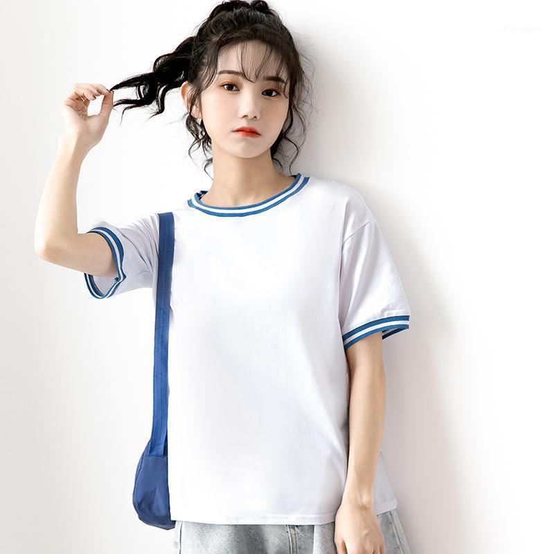 Новая летняя геометрия напечатанные футболки женщины белый с коротким рукавом футболка Harajuku Y2K круглые топы шеи TEE женские повседневные TSHIRT1