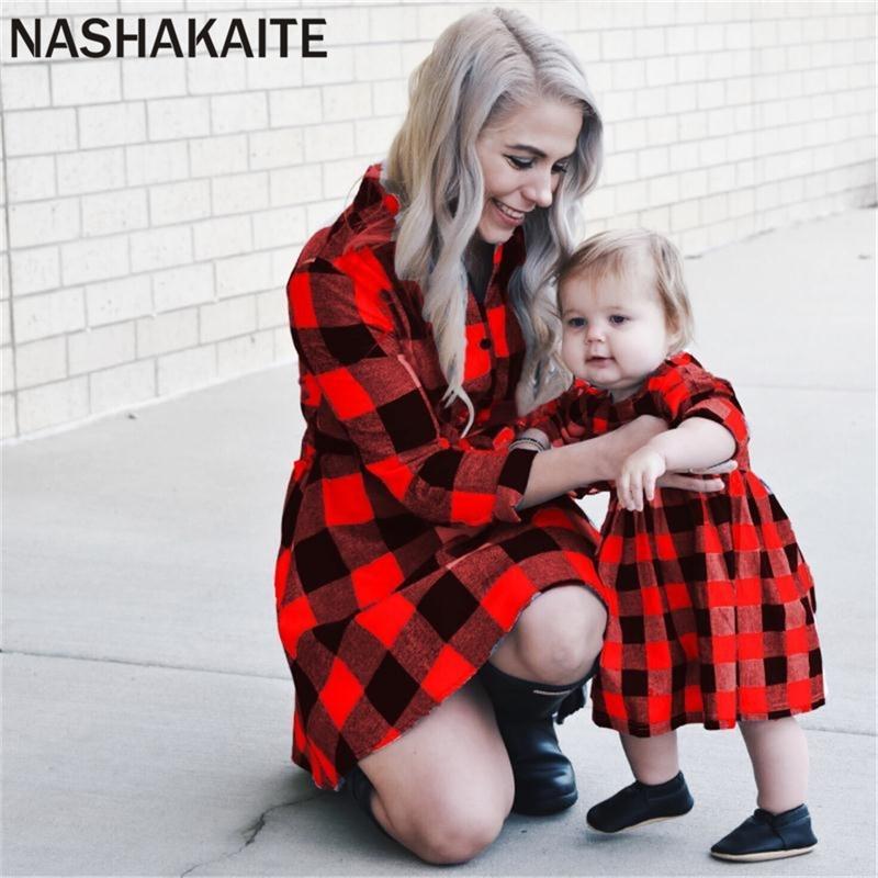 Nashakaite Mamá e hija Vestido suave manga larga clásico pliiid vestido madre hija familia coincidencia ropa mami y yo 201128