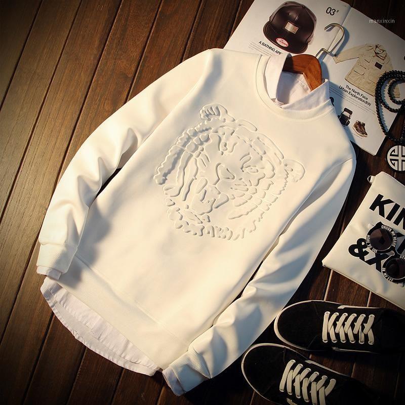 Vente en gros- Nouveau modèle Space Coton Crewnnceck Blanc Hommes Sweats à capuche Tiger Hip Hop Casual Overdize Plus Taille 5XL Hommes Sweat-shirt pour adolescence