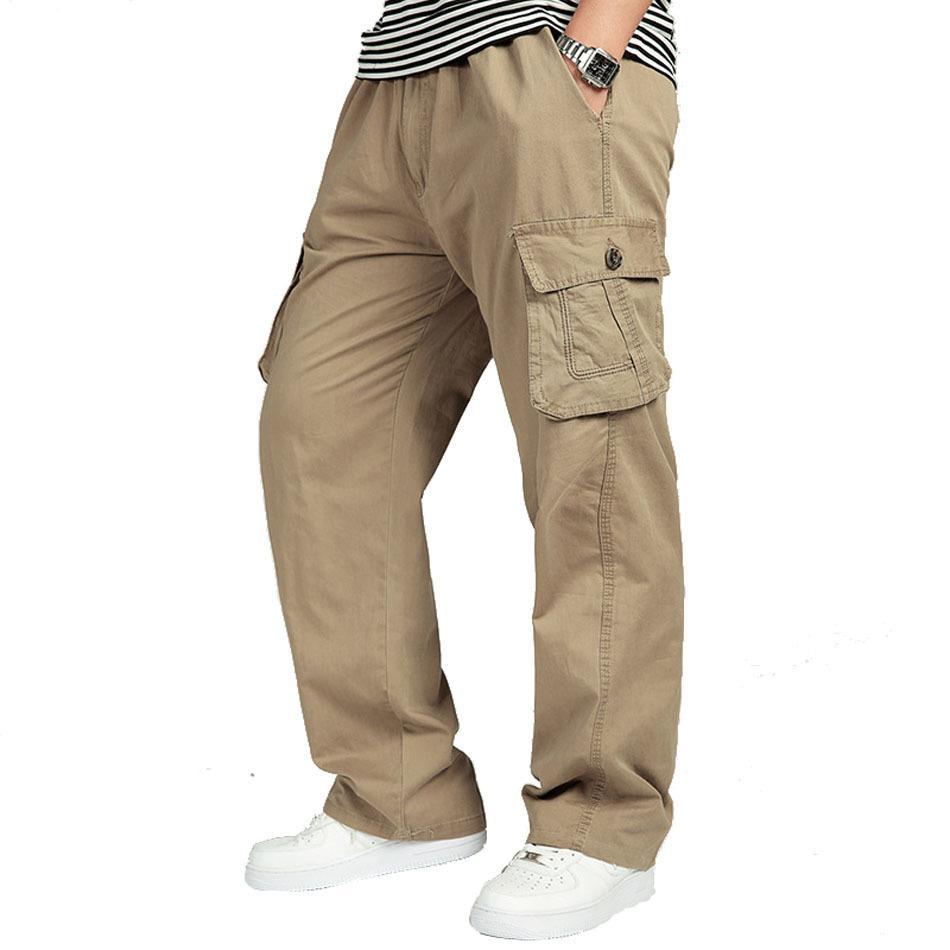 Мужские брюки большого размера Большой 4XL 5XL 6XL PLUS Случайные мужчины Эластичные талии Multi Pocket Длинные мешковатые прямые грузовые брюки мужские