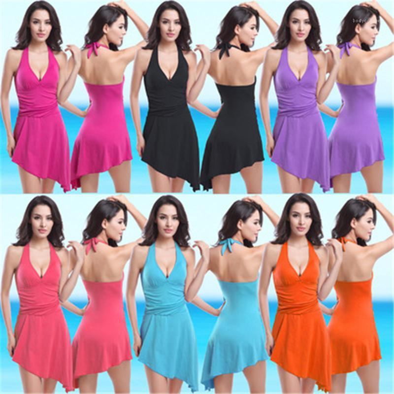 Weibliche neue massive farbe split cover bauch strand bauchbekleidung frauen sammeln einteiliger Badeanzug Mode Trend sexy offene rückseite schleimwaren sommer sommer