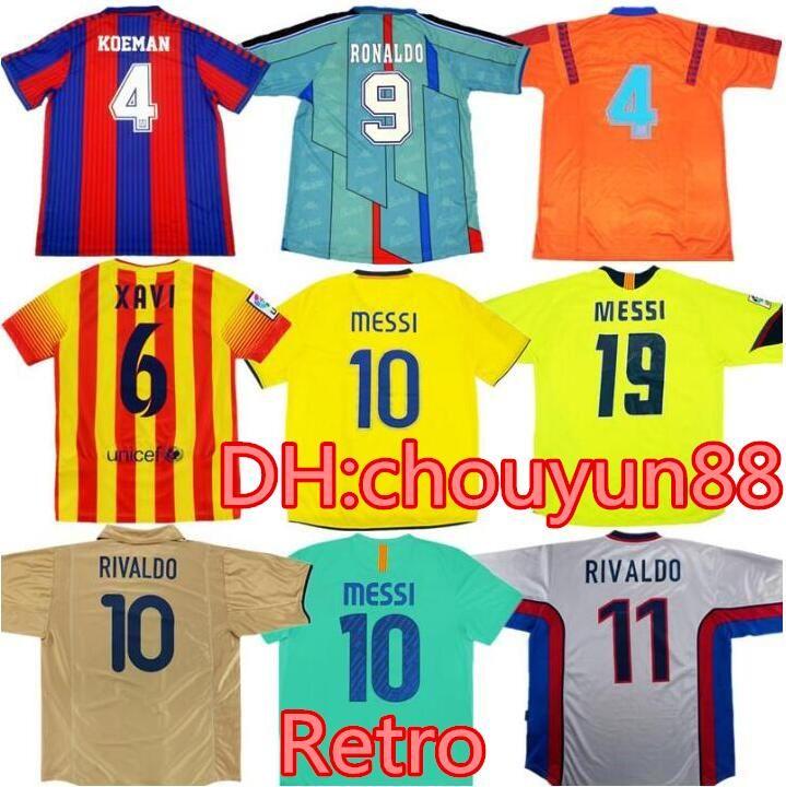 Retro Rivaldo Ronaldinho Ronaldo Soccer Jersey 91 92 95 96 99 01 02 03 08 09 Xavi Giovanni A. Iniesta Ibrahimouic Futbol Gömlek