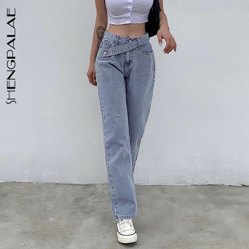 Shengpalae Frühling und Sommer Neue Frauen Iconic Unregelmäßigen Gürtel Mode Hohe Taille Slim Jeans Lässige Hose Hellblau ZT751