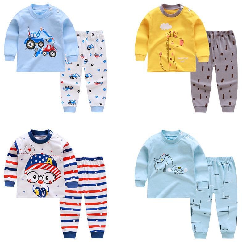 Children Underwear Set Pure Cotton New Style Boys And Girls Winter Pajamas Baby Autumn Clothes Pants Home Clothing lababy19