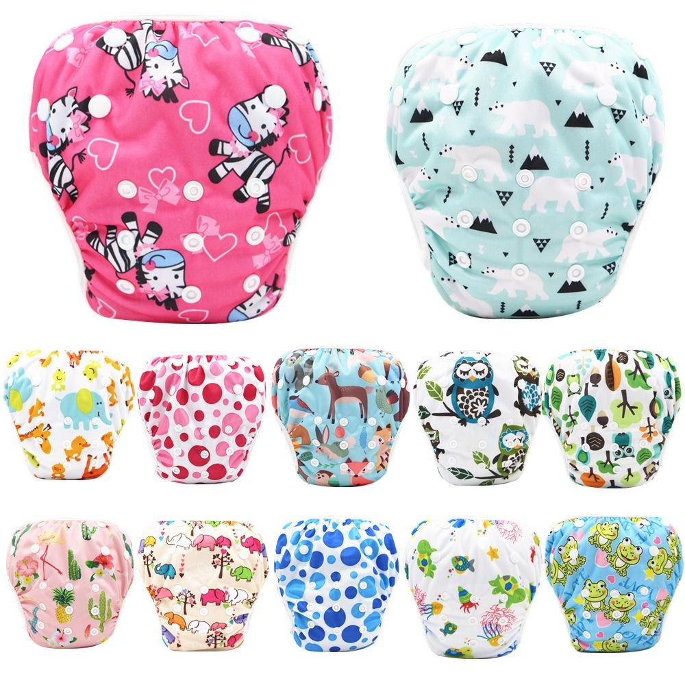 Free DHL INS 40 Designs Summer Cartoon Baby Swimming Diapers Washable Buckle Without Inserts Breathable Adjustable Diaper Cloth Nappies