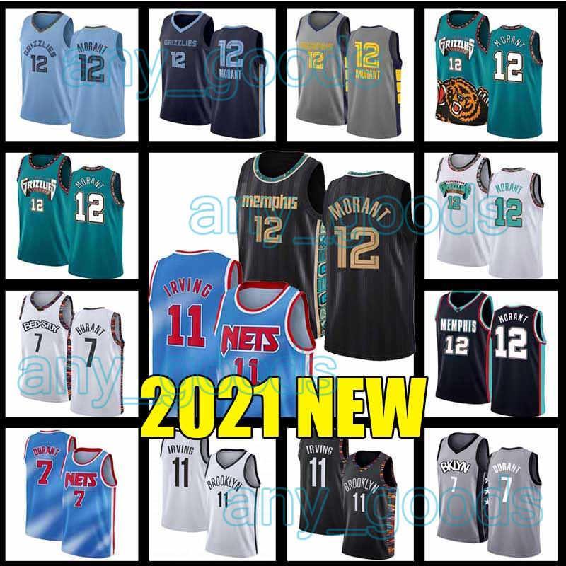 MemphisGrizmaBrooklynNetKevin 7 Durant Kyrie JA 12 Ahlaki 11 Irving Basketbol Formaları 2021 Yeni Sezon