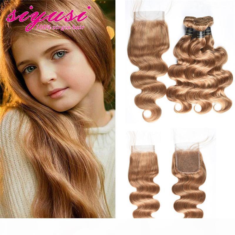 Miele Bionda Body Wave 3 Bundles con chiusura a pizzo # 27 Brasiliano bionda capelli umani tessuto non trasformato Bundle di capelli remy vergine con chiusura